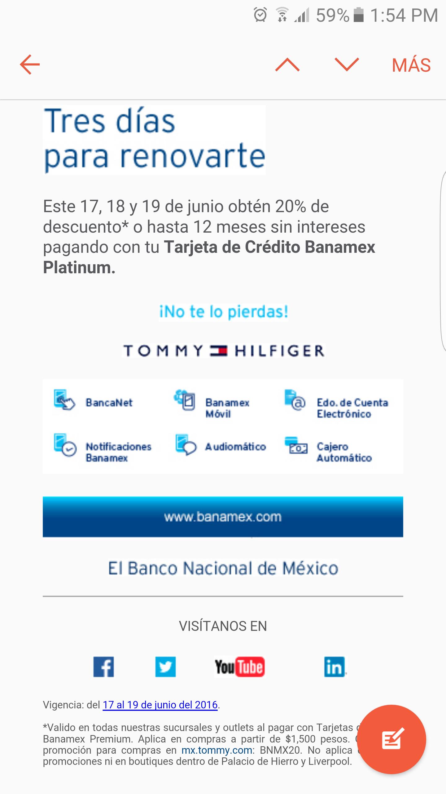 Tommy Hilfiger tiendas e internet: 20% de descuento al pagar con Banamex
