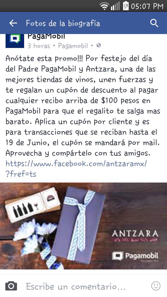 Pagamobil: Cupón de $100 para Antzara pagando un servicio