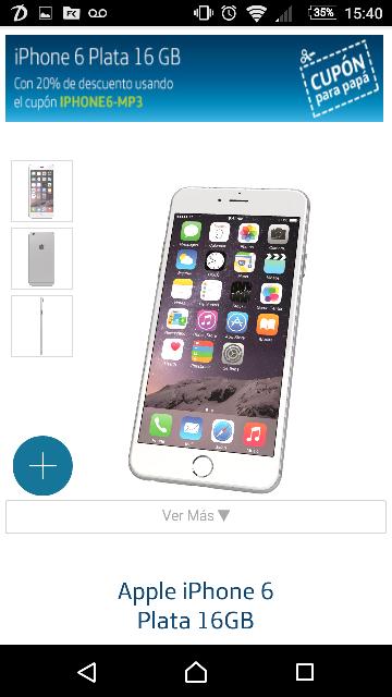 Movistar en línea: iPhone 6 de 16GB con 20% de descuento a $9,439