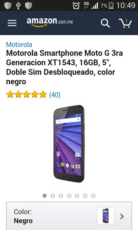 Amazon: Moto G 3ra Generación negro