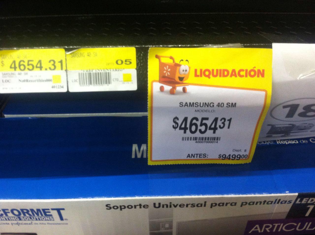 """Walmart Parque Celaya: Samsung 40"""" Smart Liquidación (equipo con daño)"""