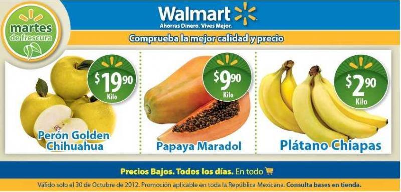 Martes de frescura en Walmart octubre 30: plátano $2.90, papaya $9.90 y más