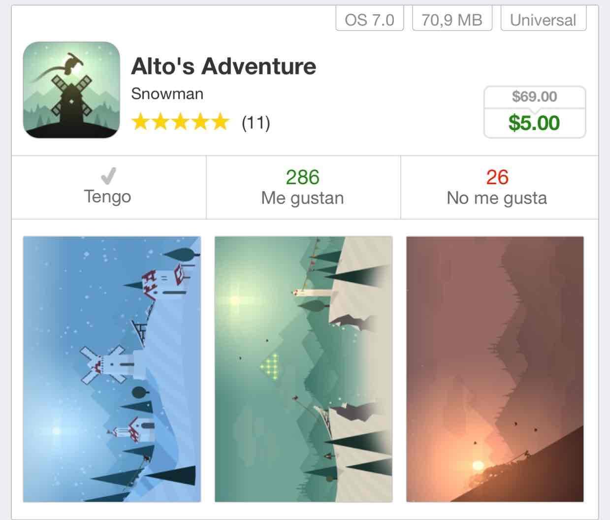 App Store: Alto's Adventure por Snowman iOS