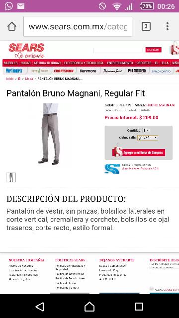 Sears en línea: Pantalón Bruno Magnani, Regular Fit- a $209