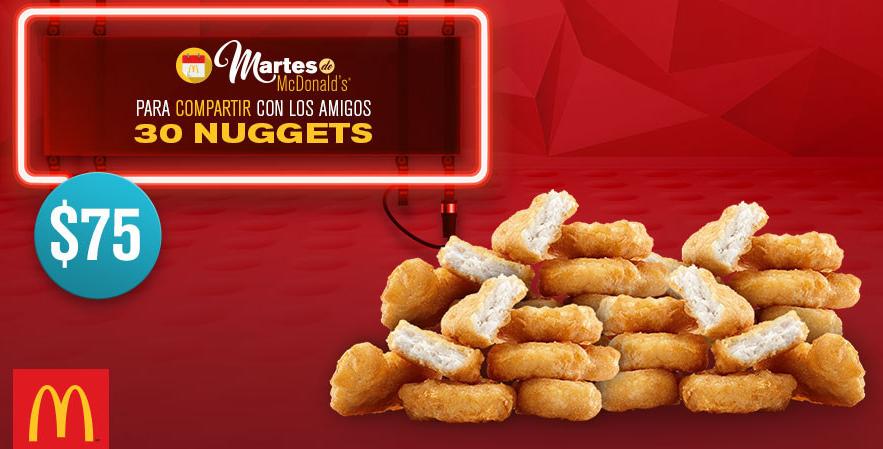 McDonald's: cupón 30 McNuggets por $75 martes 21 de junio