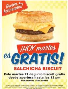 Carl's Jr: Biscuit gratis antes del medio día sin necesidad de compra (Culiacán y Mazatlán)