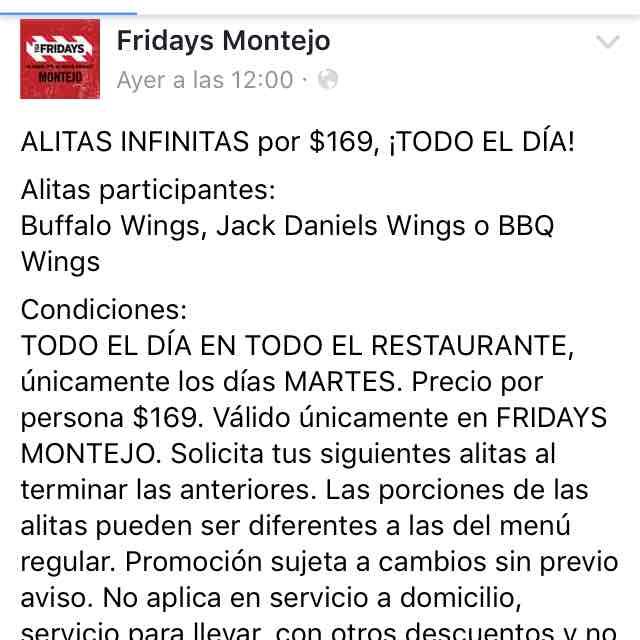 TGI Friday's Montejo: Todas las alitas que quieras por $169, los días martes (Mérida)