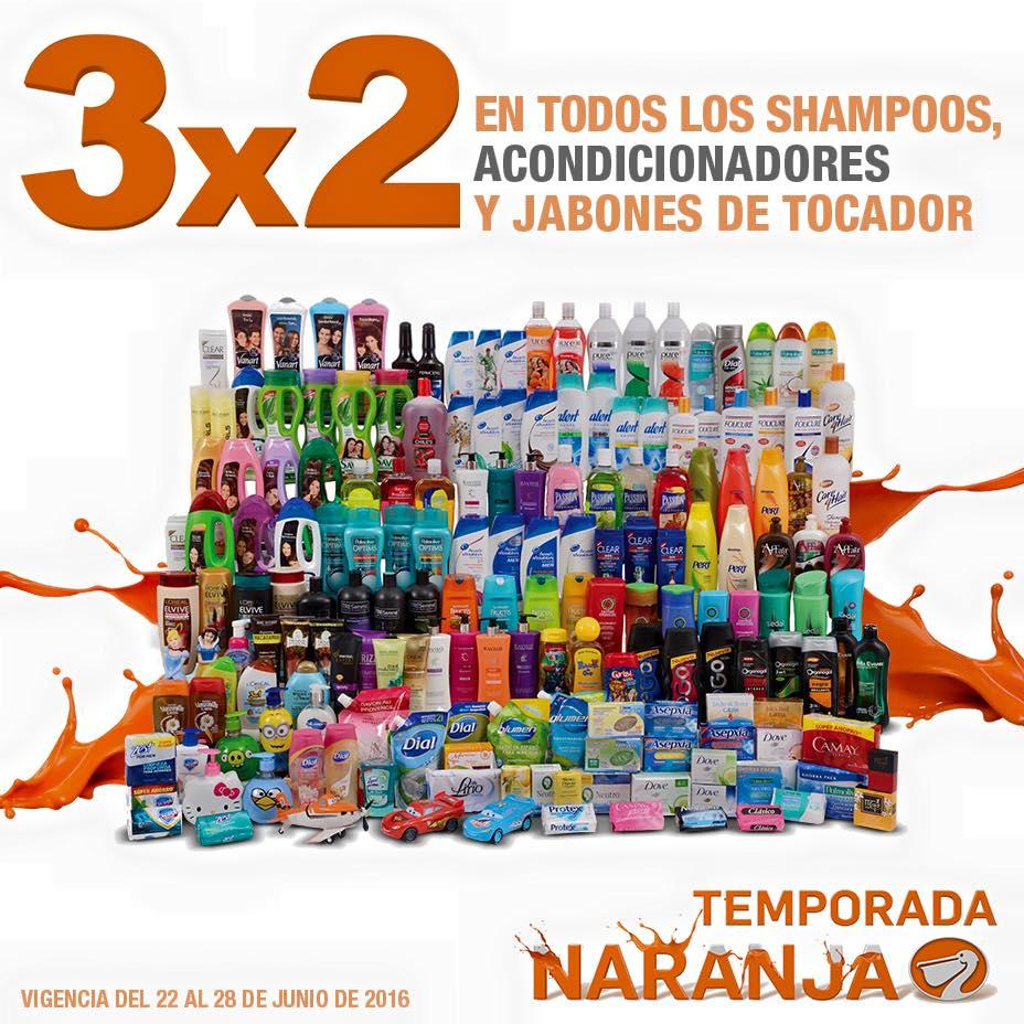Temporada Naranja (antes Julio Regalado) en La Comer: 3x2 en shampoos, acondicionadores y jabones de tocador