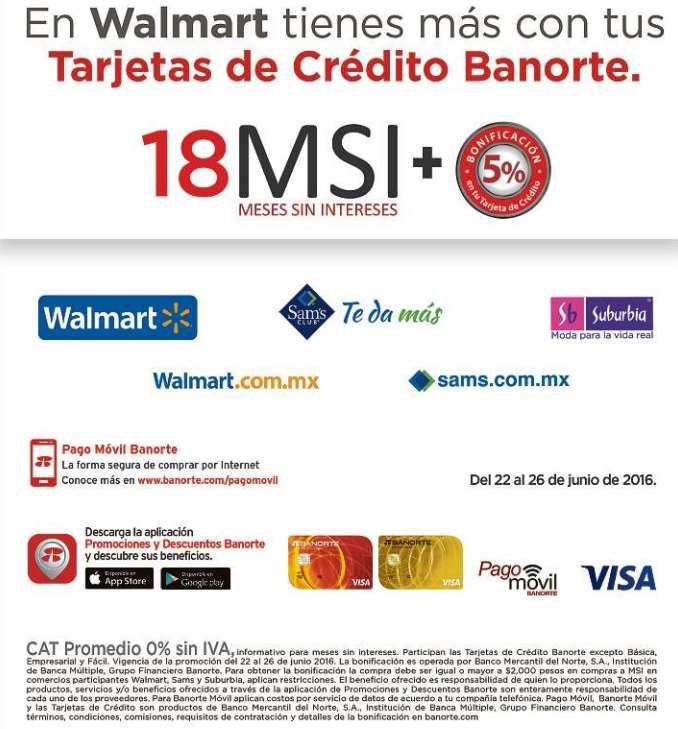 Walmart, Sam's Club y Suburbia: 5% de bonificación con Banorte + 18 MSI