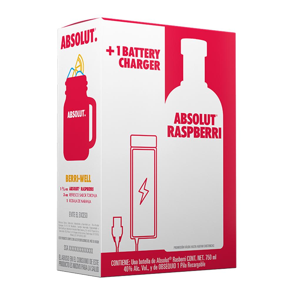 Superama en línea: Paquete vodka Absolut Raspberry 750 ml + pila recargable
