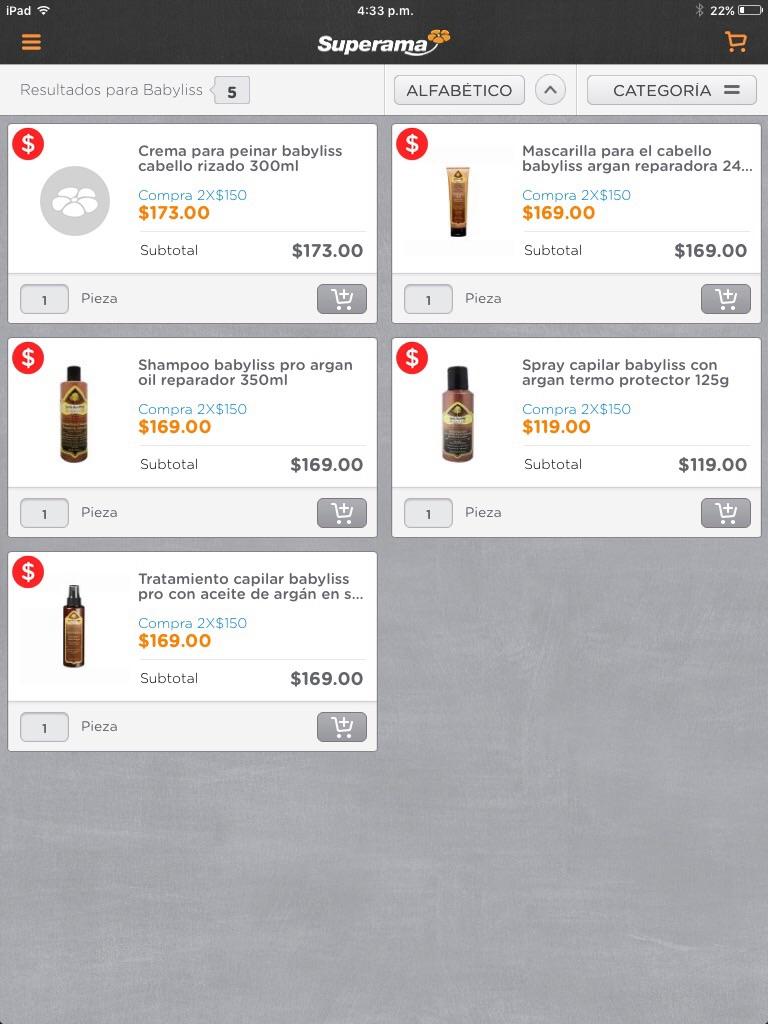 Superama en línea : Productos con Aceite de Argan marca Babyliss a 2 X $150