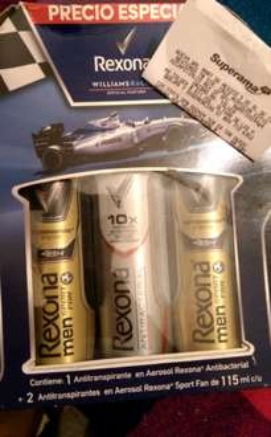 Superama Av. Toluca: pack de tres desodorantes en aerosol REXONA en $49.03