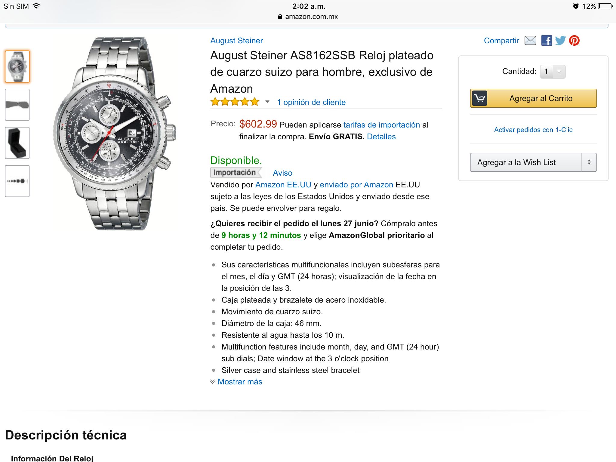 Amazon: August Steiner AS8162SSB Reloj plateado de cuarzo suizo para hombre