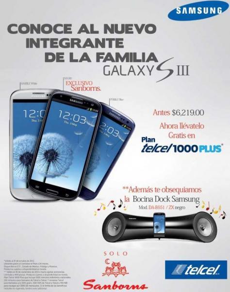Samsung Galaxy S3 gratis en plan Telcel 1000+ y bocina de regalo (con valor de $3,999)