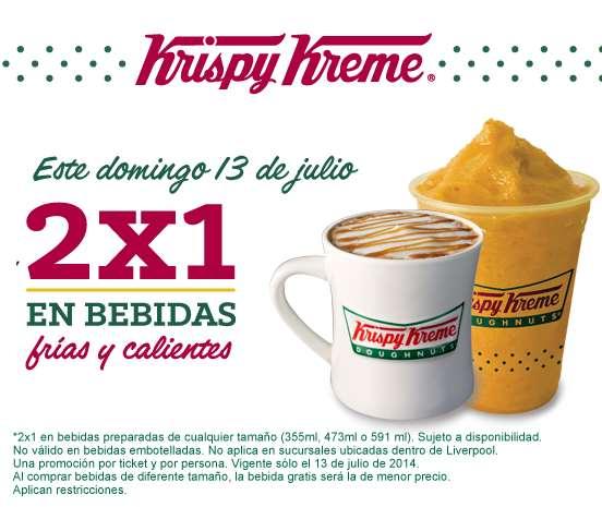Krispy Kreme: 2x1 en todas las bebidas el domingo 13 de julio
