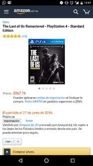 Amazon: Last of Us Remastered Playstation 4 a $367