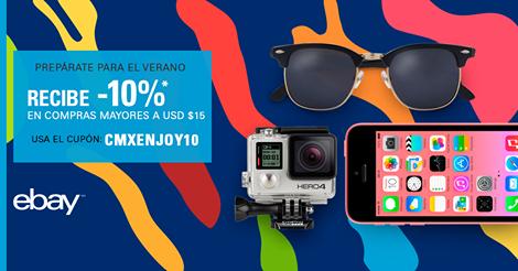 eBay: cupón de 10% de descuento en compras mayores a $15 dólares