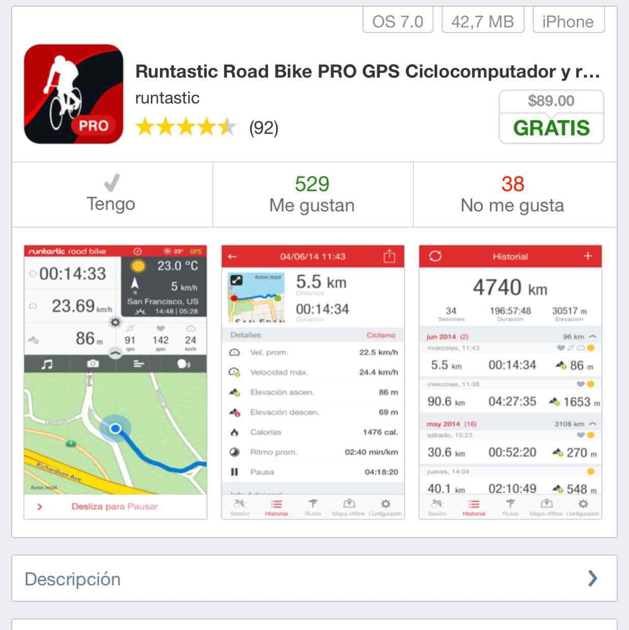 App Store: Runtastic Road Bike Pro iOS GRATIS