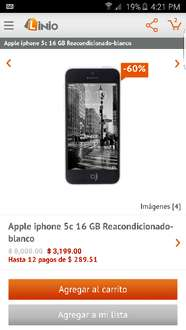 Linio: Apple iPhone 5c Desbloqueado Reacondicionado 16GB a $3,049