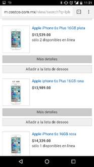 Costco en Linea: iPhone 6S Plus desde $13,539