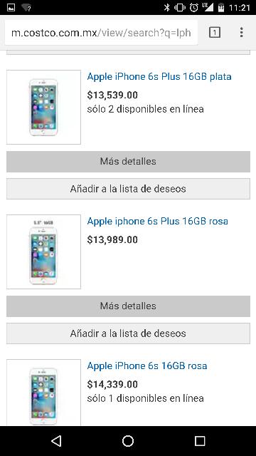 Costco en Linea: iPhone 6S Plus desde $13,539