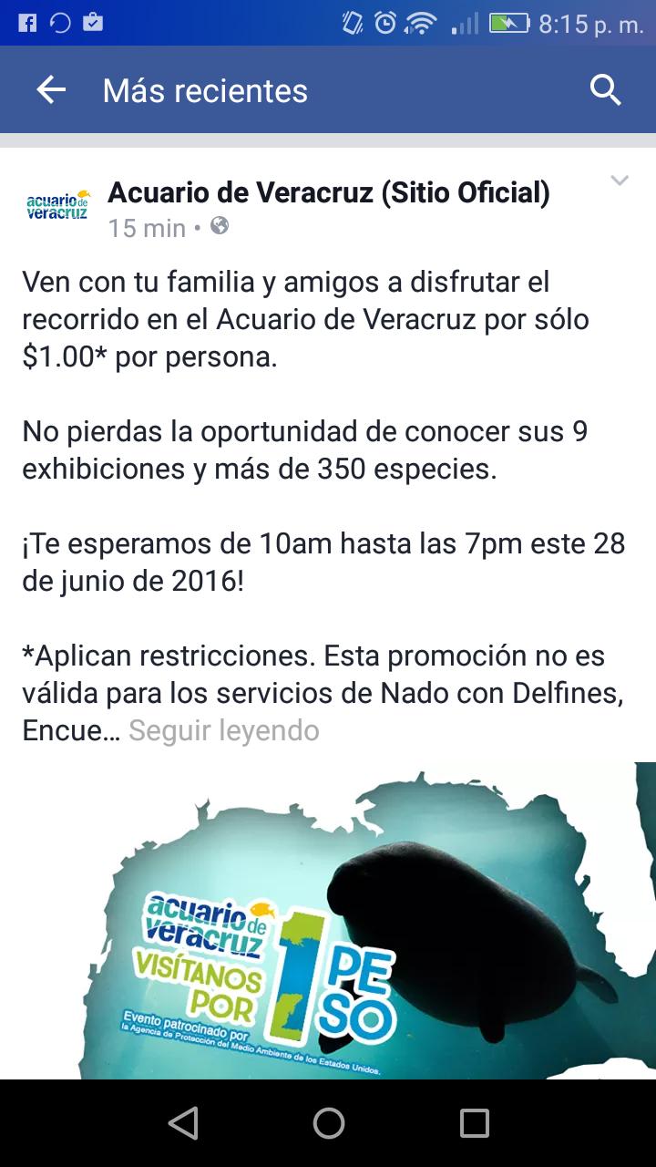 Entrada al Acuario de Veracruz a $1 peso