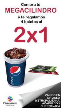 KFC: 4 cupones de 2x1 para Cinemex comprando Megacilindro