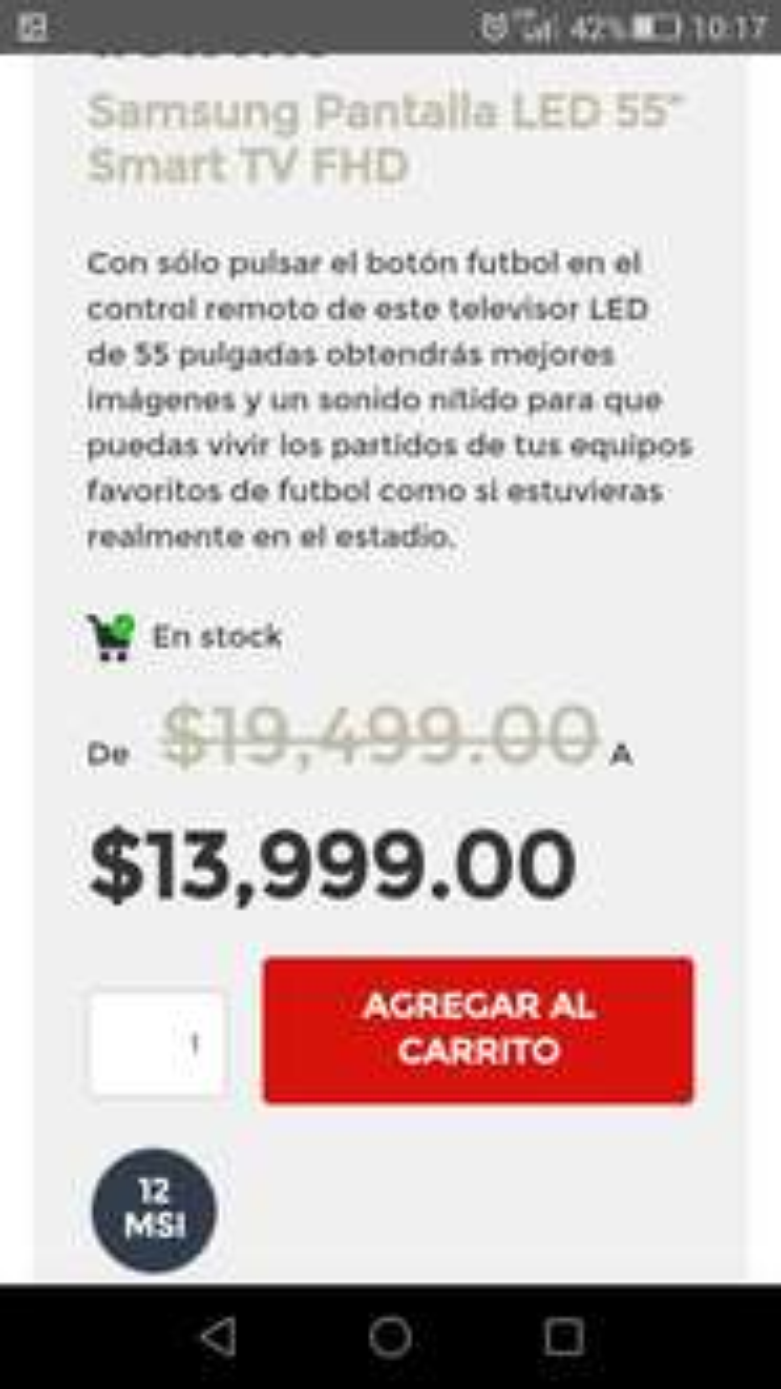 "Elektra en línea: Pantalla Smart TV 55"" Samsung"