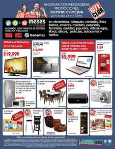 City Club: todas las laptops de hasta 3GB $5,999 o menos, 20% en reclinables y bancos y +