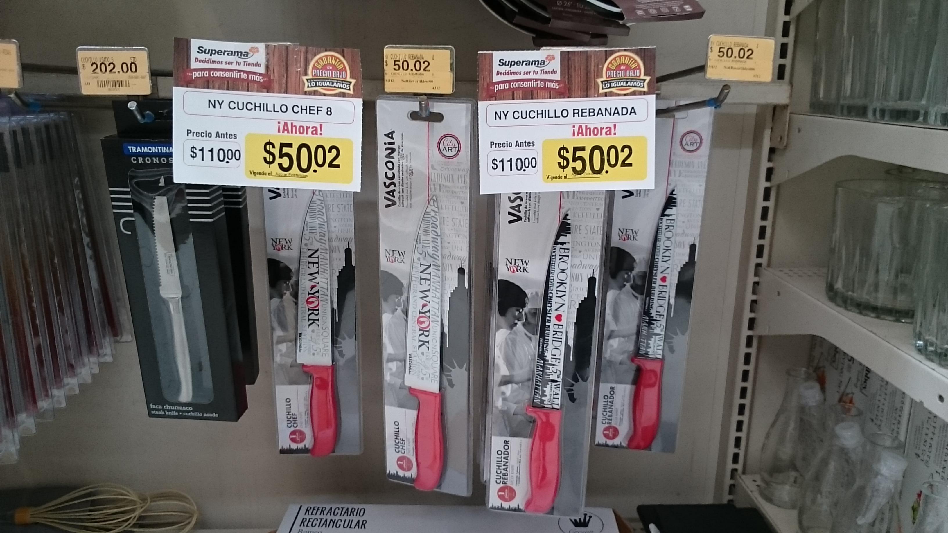 Superama Rio Mayo: cuchillo NY de $110 a $50.02