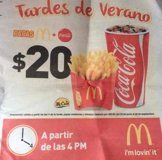 McDonald's Guadalajara: Papas y refresco medianos a $20
