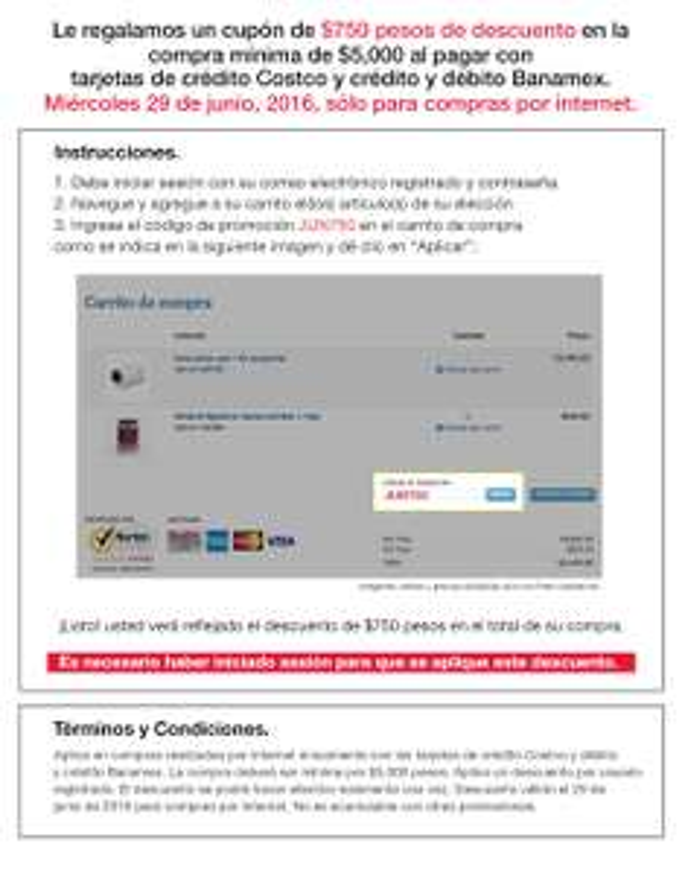 Costco en línea: $750.00 de descuento en compras mínimas de $5,000 pagando con Tarjeta Banamex y Costco, Junio 29