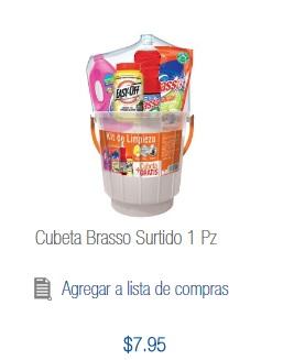 Chedraui Plaza Crystal Villahermosa: cubeta Brasso con varios artículos de limpieza a $7.95