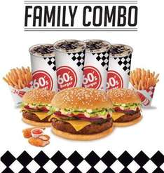 "Family combo 60"" Burger $119 (3 hamburguesas, 2 papas, 4 refrescos y 2 chicken strips)"