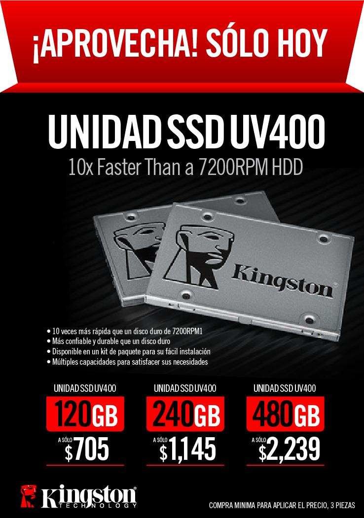 MiPC: Unidades SSD Kingston de 120Gb, 240Gb y  480Gb (Precio comprando 3 piezas)