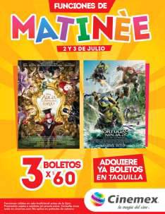 Cinemex: 3 boletos para matinée Alicia o Tortugas Ninja 2 por $60 pesos, 2 y 3 de julio
