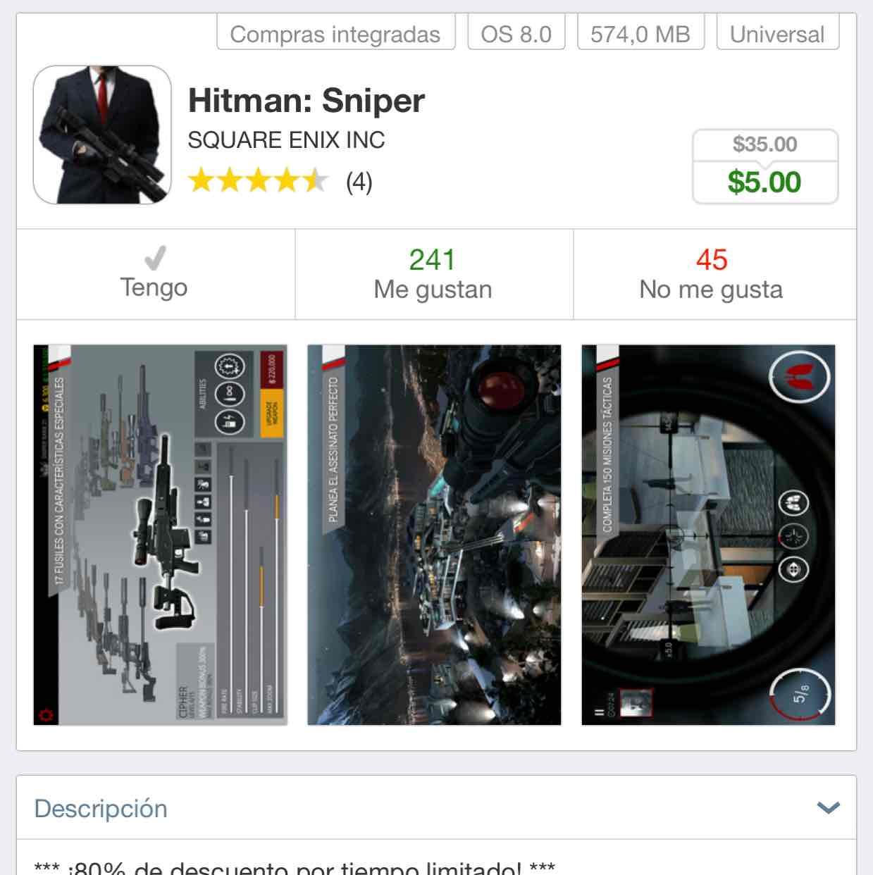 App Store: Hitman Sniper iOS