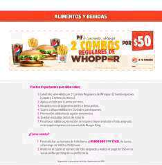 Liverpool (Tarjeta PIF): 2 combos Whopper regulares (hamburguesa normal, papas y refresco chicos) por $50