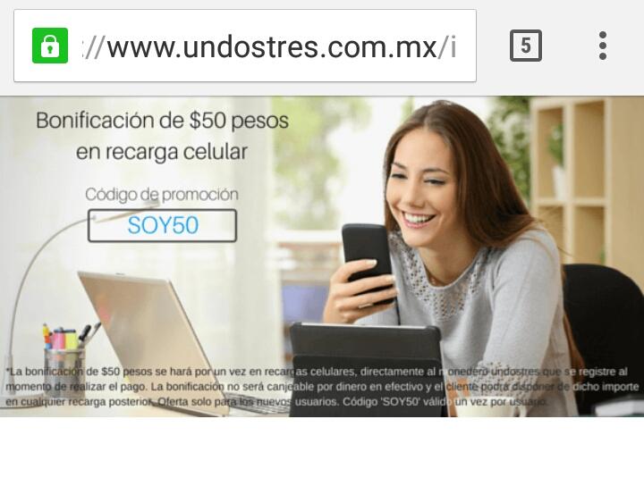 UnDosTres: regala 50 de saldo (solo cuentas nuevas)