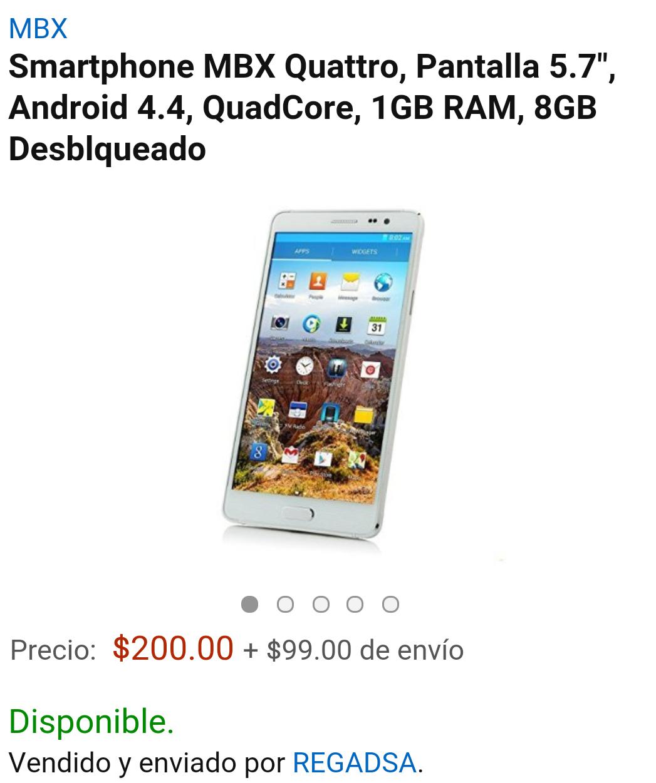 """Amazon: Smartphone MBX Quattro, Pantalla 5.7"""", Android 4.4, QuadCore, 1GB RAM, 8GB Desblqueado (VENDIDO POR UN TERCERO)"""