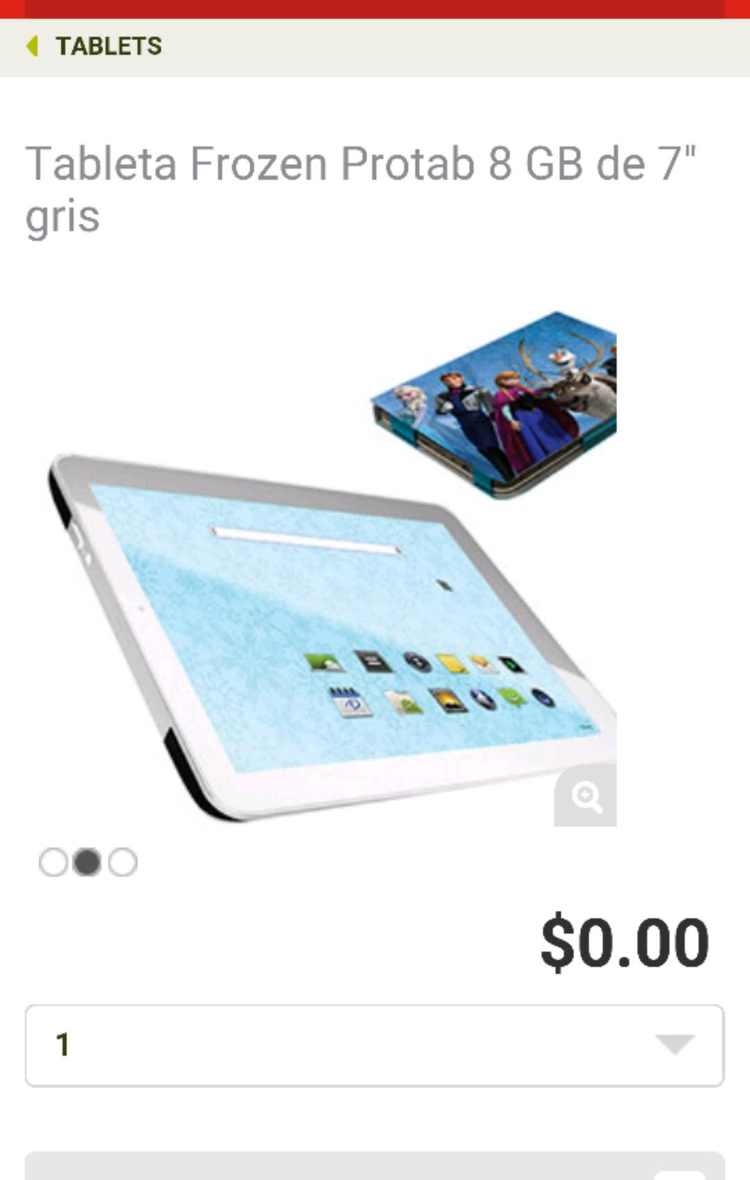 Soriana en línea: Tablet Frozen Protab 8 GB Android a $0.00 (hay que comprar $600 para el envío)