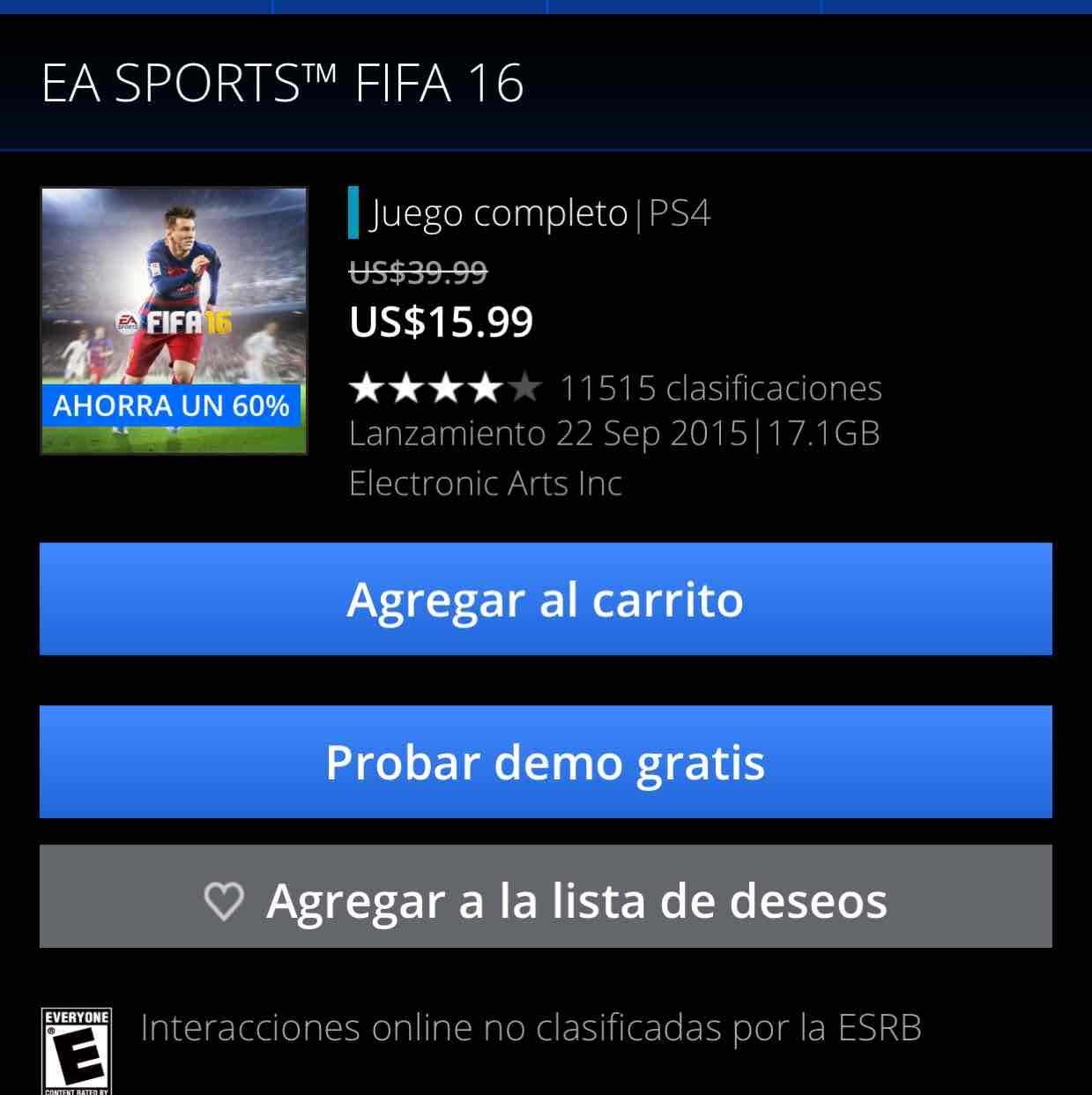 PSN: FIFA 16 con 60% de descuento para PS4