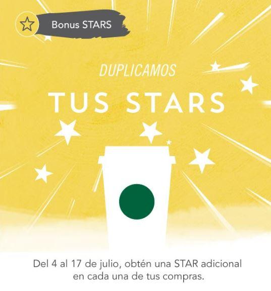 Starbucks: Doble de STARS, estrella extra por cada visita pagando con Starbucks Card
