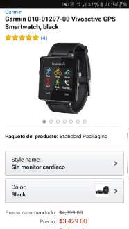 Amazon MX: Garmin Vivoactive Black a $3,429 (con AMEX queda en $2,915)