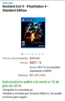 Amazon México: Resident Evil 5 para PS4 y Xbox One a $407