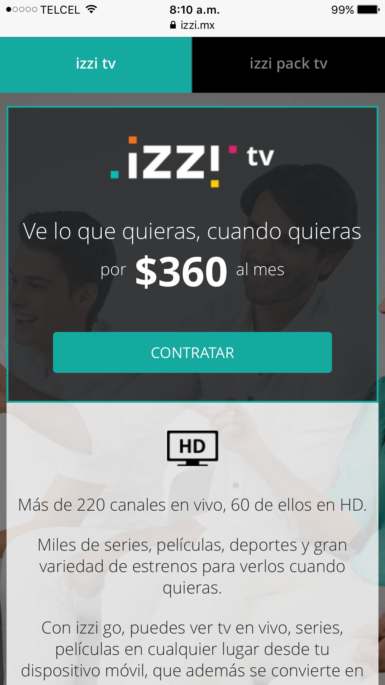Izzi: nuevo paquete IzziTV a $360