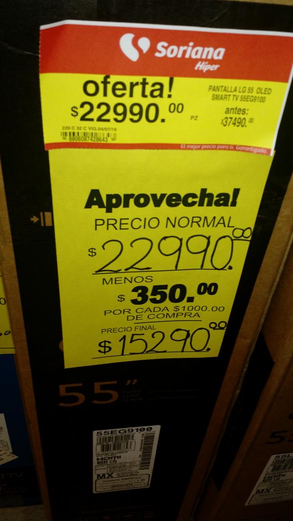 Soriana: pantalla OLED Smart TV LG de $37,490 a $22,990 mas $350 por cada mil queda en $15,290