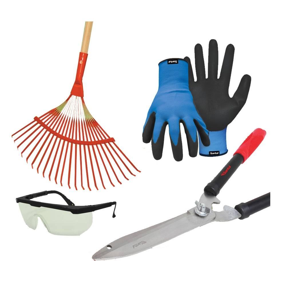 Walmart en linea: Set de jardin (Escoba, guantes, lentes y tijera para podar)  $150