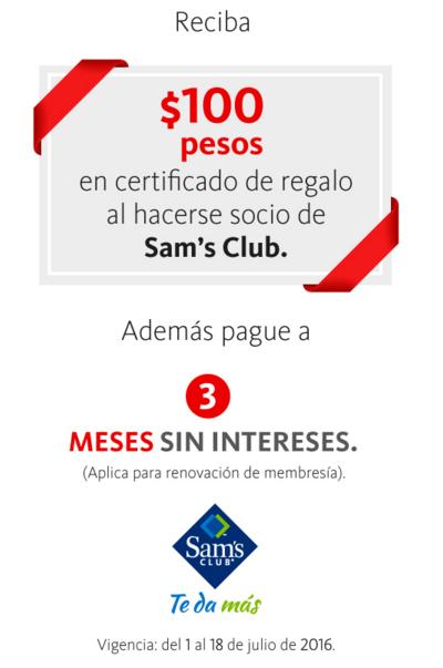 Sam's Club: $100 pesos en certificado de regalo pagando membresía con tarjetas Santander