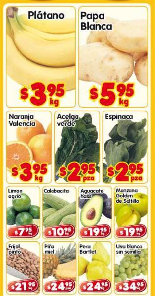 Frutas y verduras en HEB: plátano $3.95, papa $5.95 y más